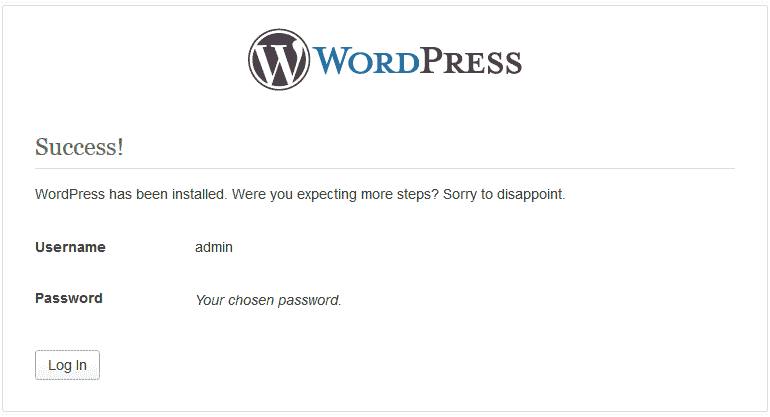Successful install WordPress