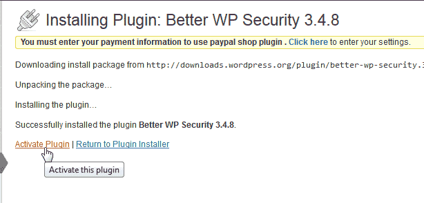 Activate the WordPress Better WP Security plugin