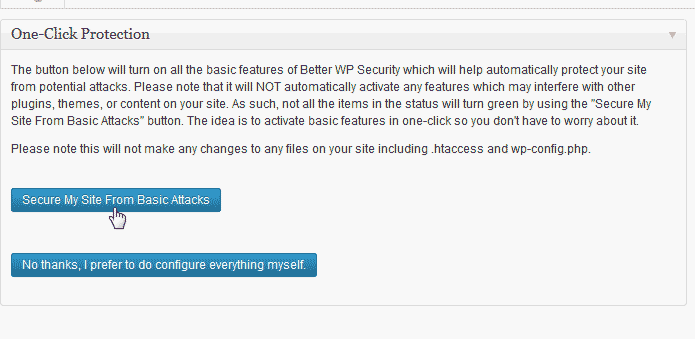 Secure the site with the WordPress Better WP Security plugin
