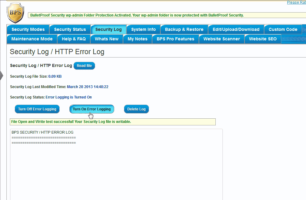 Error logs in teh WordPress BulletProof Security Plugin