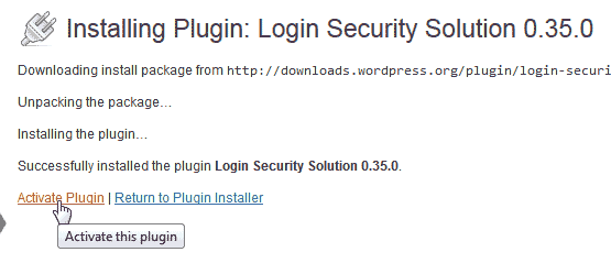Activate Login Security Solution plugin WordPress