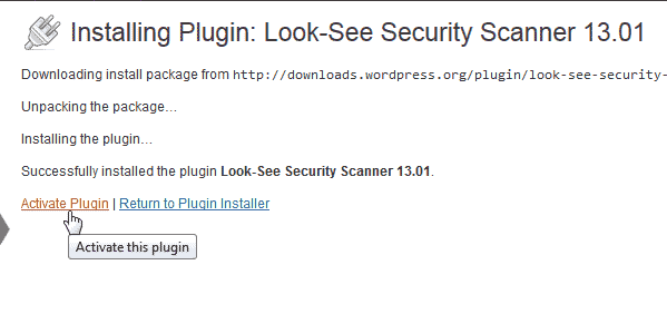 Activate Look See Security Scanner WordPress