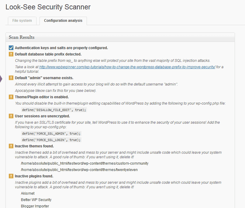 Analysis for the scan Look See Security Scanner WordPress