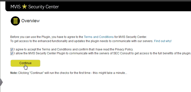 Continue the WordPress MVIS Security Center plugin configuration