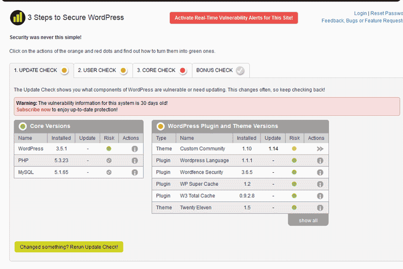 Update Check WordPress MVIS Security Center plugin