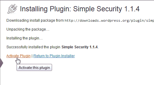 Activate Simple Security Pliugion WordPress