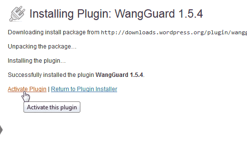 Activate WangGaurd security plugin for WordPress