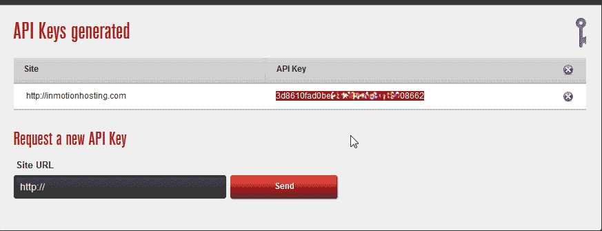API key for WangGaurd security plugin for WordPress