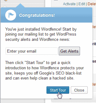 Tour the WordFence plugin