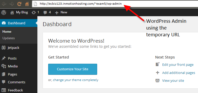 Temp URL for WP dashboard