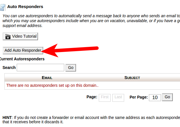 Add Auto Responder in cPanel