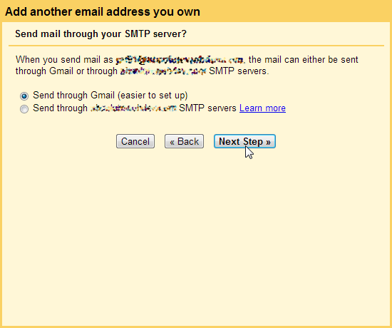 Send through POP3 SMTP Gmail