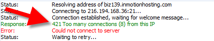 view of 421 too many connections error in filezilla