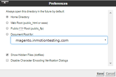 select directory in settings