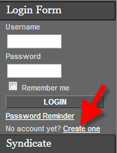 view of user registration option in mambo