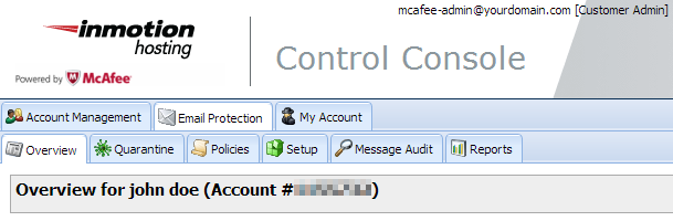 Mcafee control console main page