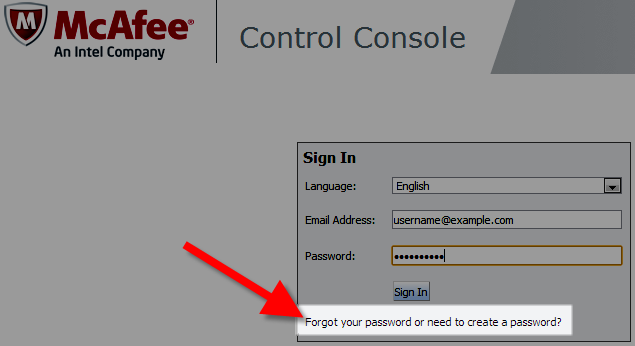requesting to create password for mcafee