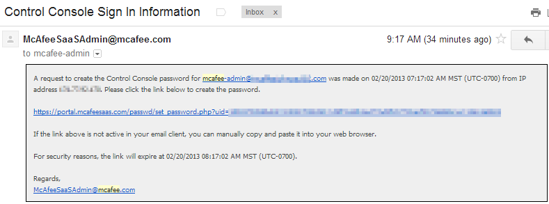 password creation email for mcafee