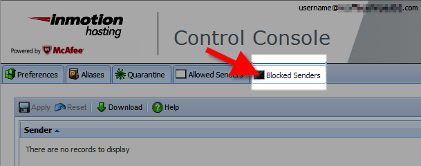 selecting the blacklist tab in the mcafee control console