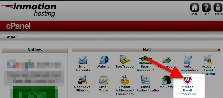 mcafee email protection button in cpanel