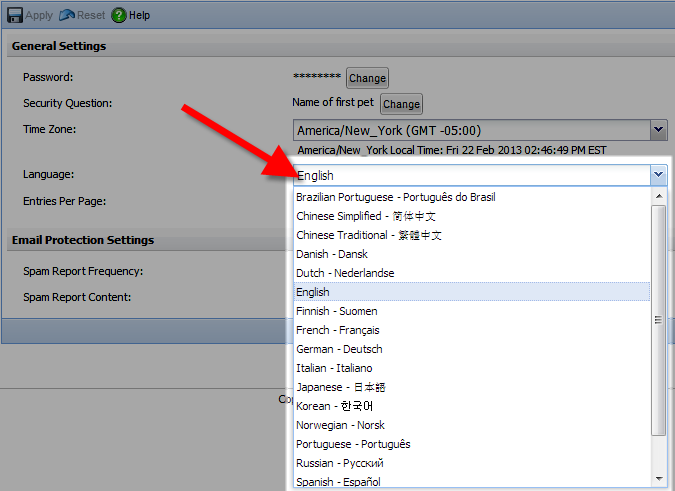 drop down of available languages in the mcafee control console
