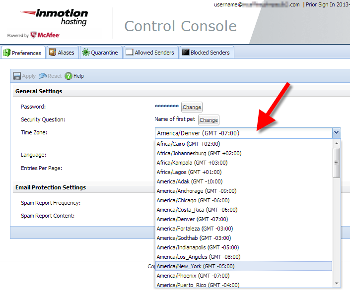 selecting the correct timezone in the mcafee control console