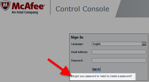 Requesting to create password for the mcafee control console