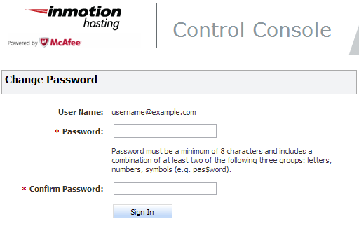 creating a password for the mcafee control console
