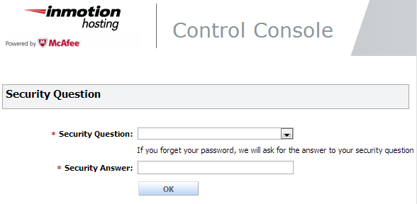 choosing a security question for the mcafee control console