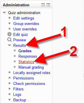 Selecting results in Moodle menu