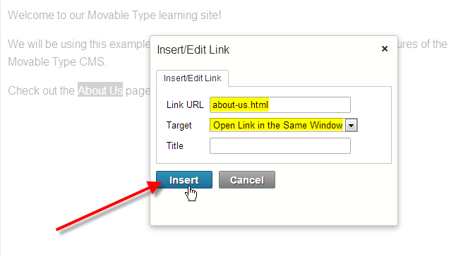 fill in link url click on insert