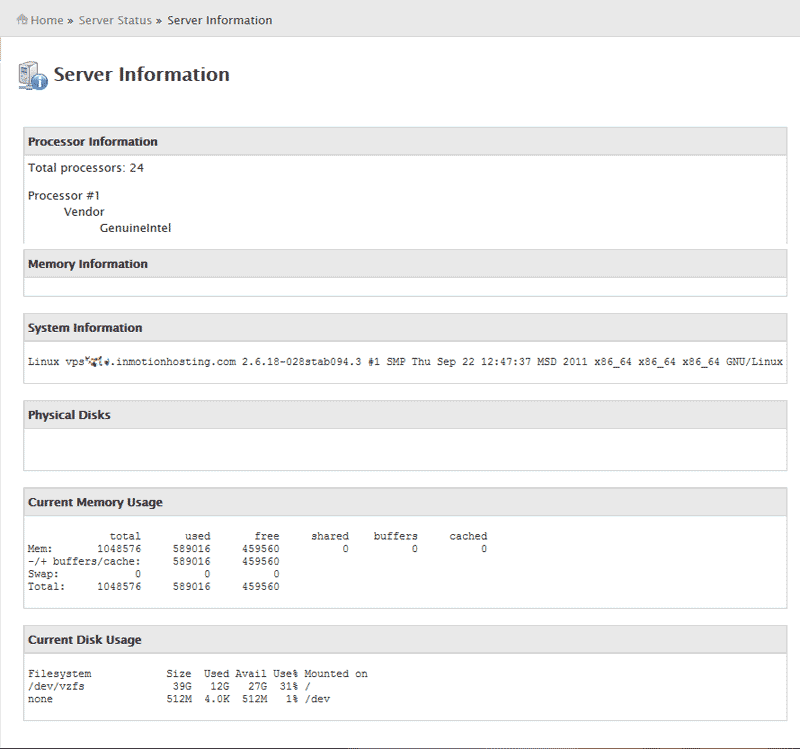 Snapshot of WHM Server Informaion cPanel