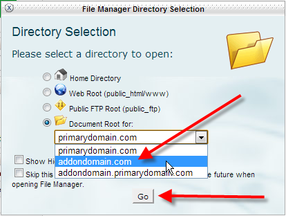 cpanel-file-manager-select-addon-click-go