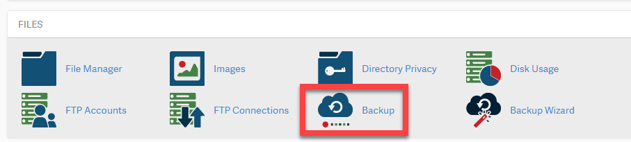 cpanel click on backup