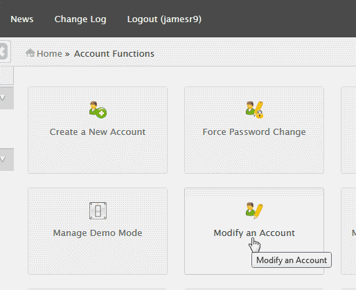 Modify the Account in WHM