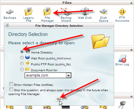 click on file manager home directory go