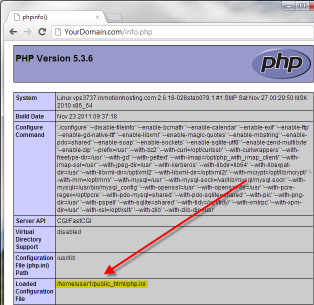php config file