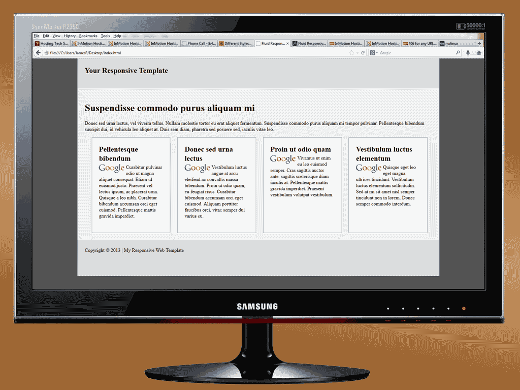 shows how a responsive template would display on a desktop computer