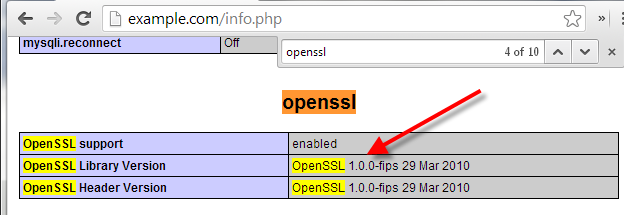 check openssl version for heartbleed bug