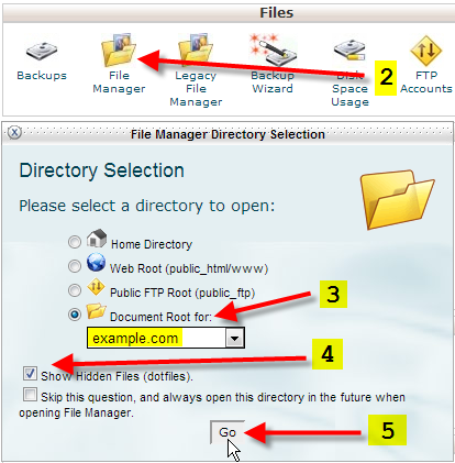 file manager show hidden files for example.com
