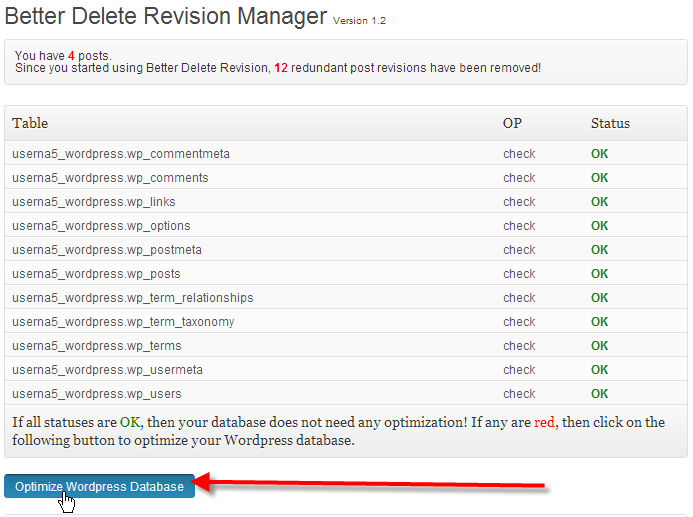 wordpress admin better delete revision click optimize wordpress database