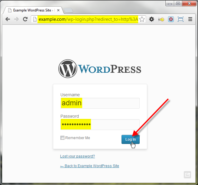 wordpress admin click on log in