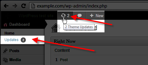 wordpress admin click on updates icon or link