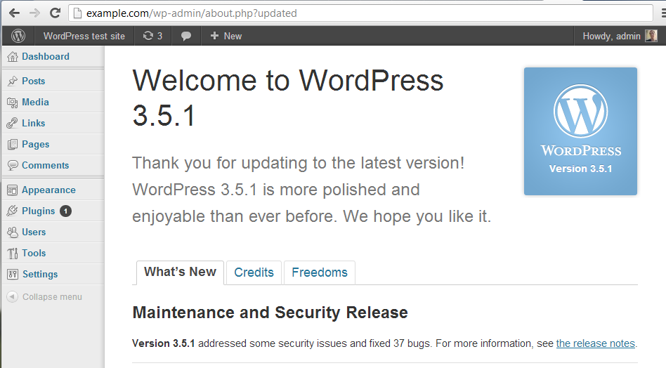 wordpress admin update to 3.5.1 successful