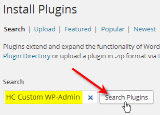 fill out hc custom wp-admin click search plugins