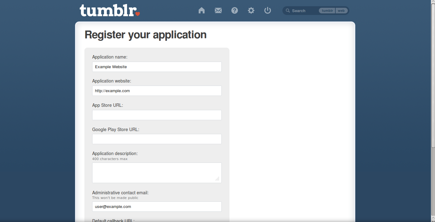 tumblr api screen settings