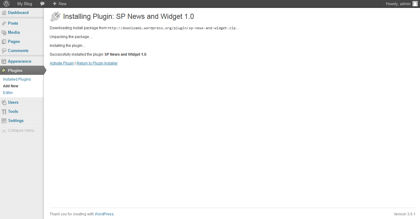 WordPress SP news plugin installation step 2