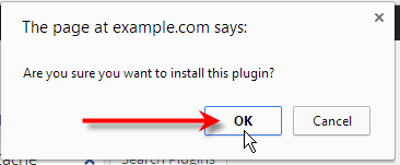 click ok to confirm plugin install