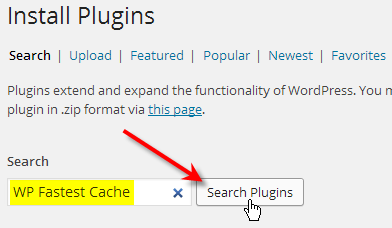 type in wp fastest cache click search plugins
