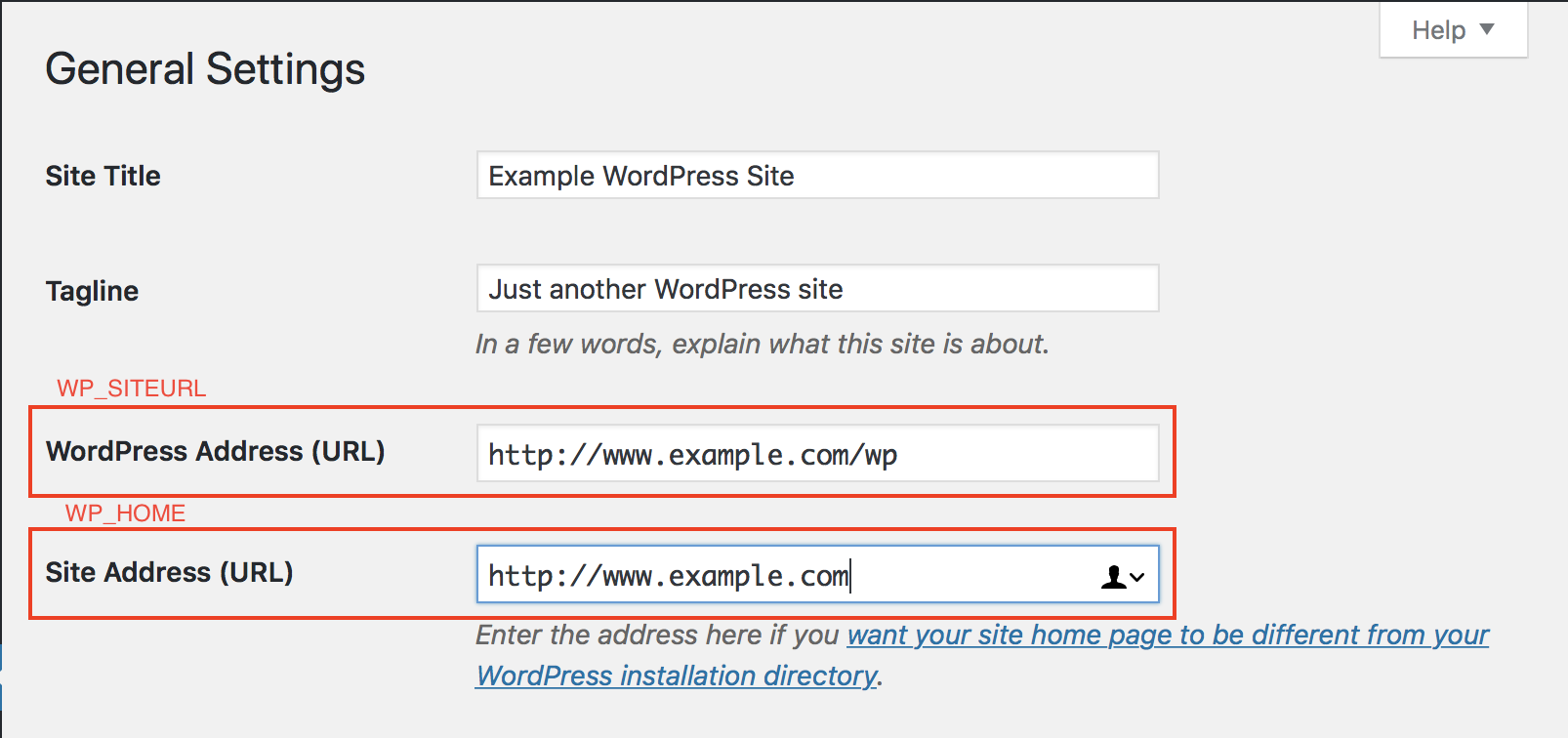 WordPress URL settings in admin dashboard